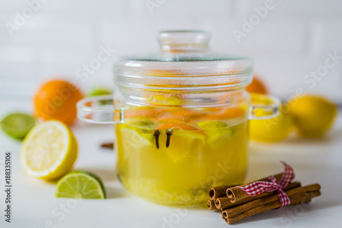 Warming and healthy ginger and citrus drink.