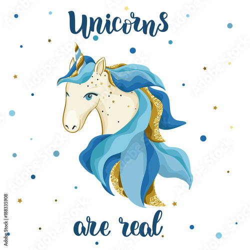 Poster Pony Watercolor vector hand drawn unicorn.