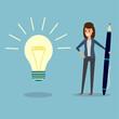 businesswoman, pen, idea bulb