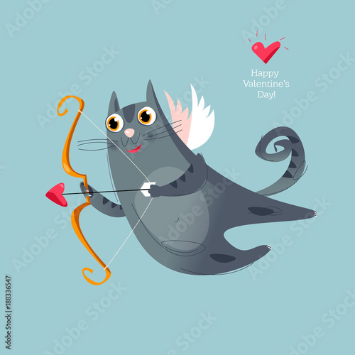 A flying cupid cat with a bow and arrow. Happy Valentine's day. Fototapeta