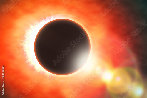2018 Full solar eclipse, astronomical phenomenon - full sun eclipse. The Moon covering the Sun in a partial eclipse. 3D illustration.