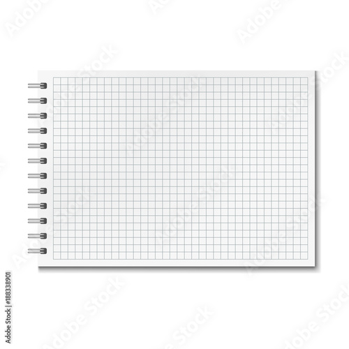 horizontal vector realistic graph ruled notebook notepad with blank