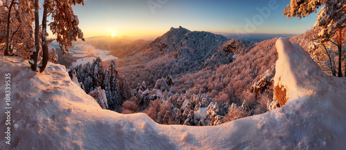 Poster Cappuccino Slovakia mountain, Winter landscape at sunset, Sulovske skaly