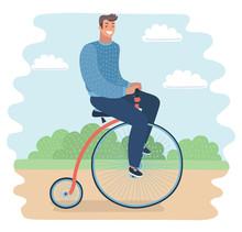 Men Riding A Penny-farthing Bi...