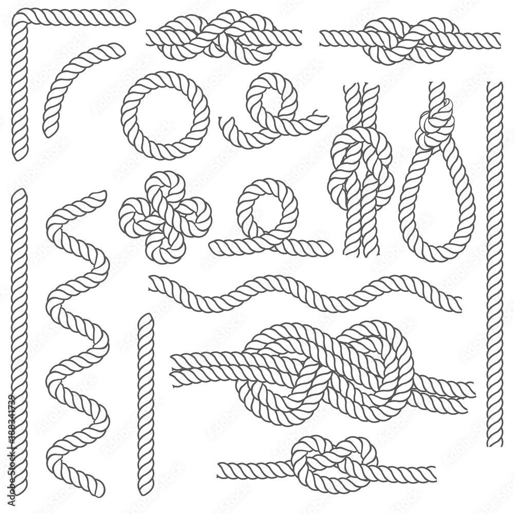 Fototapety, obrazy: Rope Knots Borders Black Thin Line Icon Set. Vector
