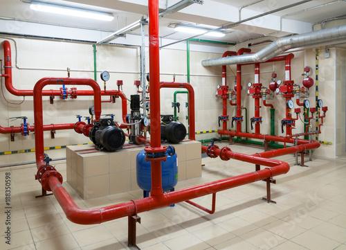 Obraz Industrial fire sprinkler station - fototapety do salonu
