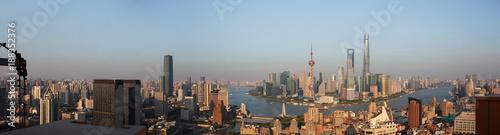 Poster Madrid Aerial photography bird view at Shanghai bund Skyline
