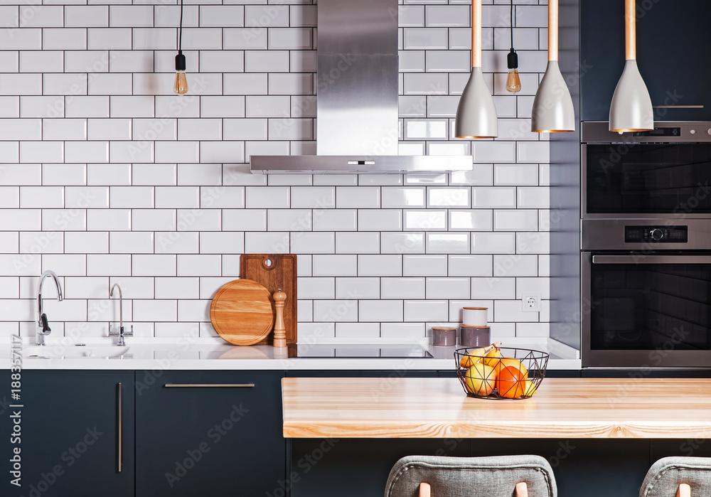 Fototapety, obrazy: Modern interior. Spacious  kitchen