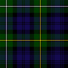 Scottish Plaid In Green, Black...