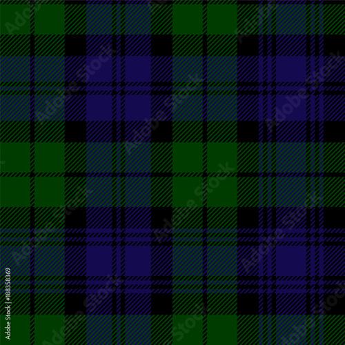 Scottish plaid in green, black, blue. Campbell tartan seamless pattern Wall mural
