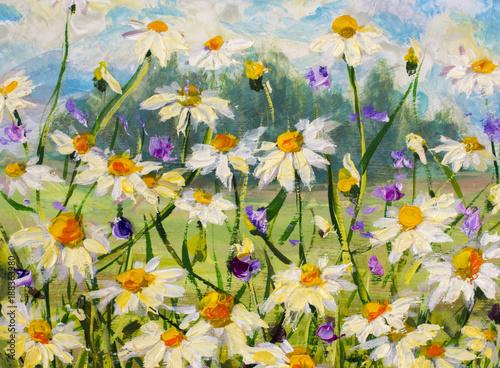 Oryginalny obraz olejny kwiatów białych stokrotek, piękne kwiaty polne na płótnie. Nowoczesny impresjonizm. Nóż paletowy Grafika Impastowa.
