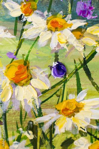 Obraz olejny kwiatów białych stokrotek, piękne kwiaty polne na płótnie. Nóż paletowy Grafika Impastowa. Ręcznie malowane kompozycje kwiatowe.