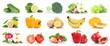 canvas print picture - Früchte Obst und Gemüse Apfel Tomaten Farben Sammlung Freisteller freigestellt isoliert