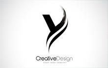 Y Letter Design Brush Paint Stroke.