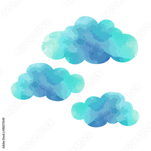 Poster Ciel Watercolor blue clouds set isolated on white background. Hand painting on paper