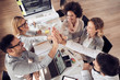 canvas print picture - Happy business team giving high five in office