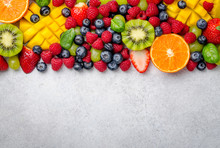 Mix Of Fruits And Berries On A...