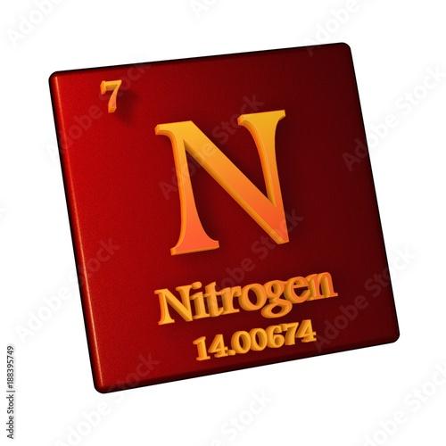Nitrogen chemical element number 7 of the periodic table of the nitrogen chemical element number 7 of the periodic table of the elements 3d illustration urtaz Images
