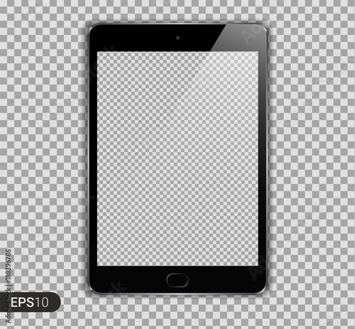 Fotografia  New Realistic Tablet PC Computer with Transparent Screen Isolated on Background