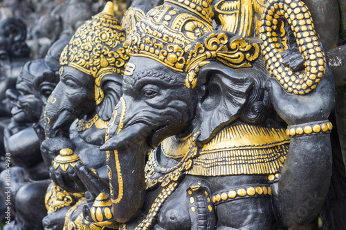 Sculptures of hindu god Ganesha in the traditional art market of Ubud, Bali Canvas Print