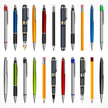 Set Of Pens And Pencils, Tools For Writing Drawing, Isolated