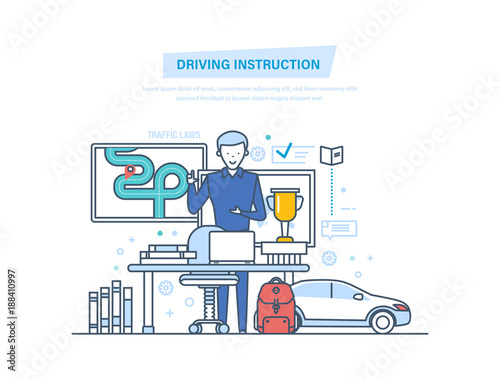Driving Instruction By Car Driving School Or Learning To Drive