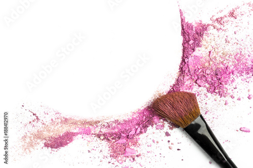 Photo Powder and blush forming frame, with makeup brush