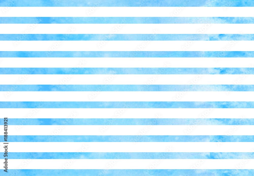 Fototapeta Watercolor blue stripes. Blue horizontal lines isolated on white background