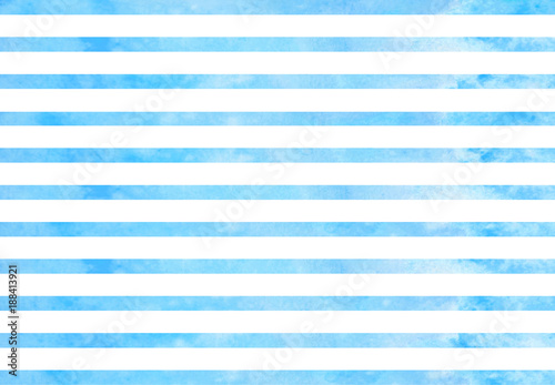 Watercolor blue stripes. Blue horizontal lines isolated on white background