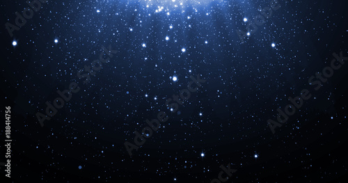 Foto  Blue glitter particles background with shining neon stars falling down and light flare or glare overlay effect above for luxury premium product design