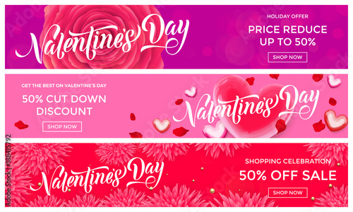 b740e0976133e Valentines Day sale banner design template of pink red hearts and ...
