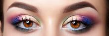 Closeup View Of Woman Eyes With Evening Makeup
