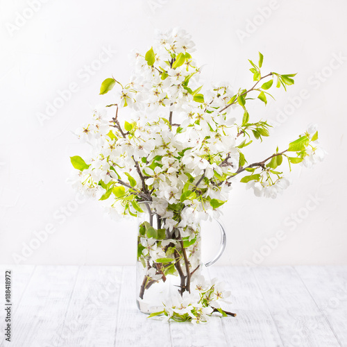 Fototapety, obrazy: apple blossoms on white wooden surface