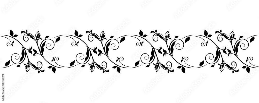 Fototapety, obrazy: Vector horizontal seamless black and white vignette.