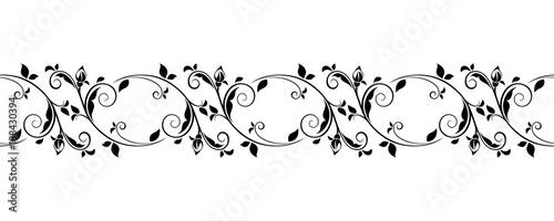 Fotografie, Obraz  Vector horizontal seamless black and white vignette.