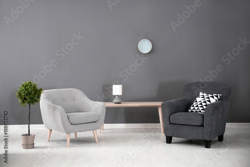 Fotografie, Obraz  Elegant living room interior with comfortable armchairs