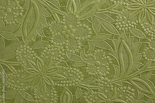 Valokuva Embossed green floral pattern