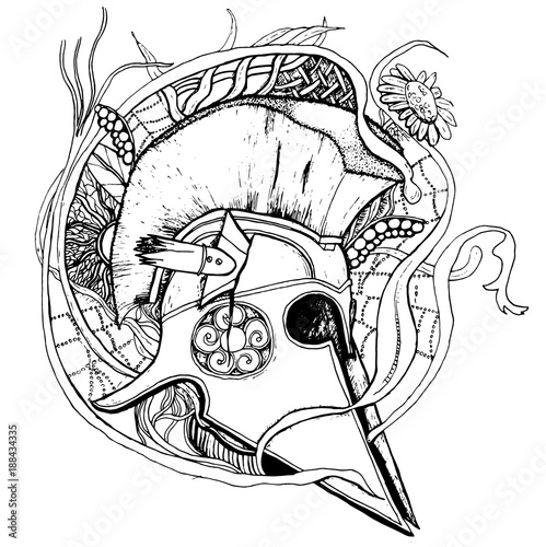 Tela  Vector hand drawn greek historical helmet with floral background.