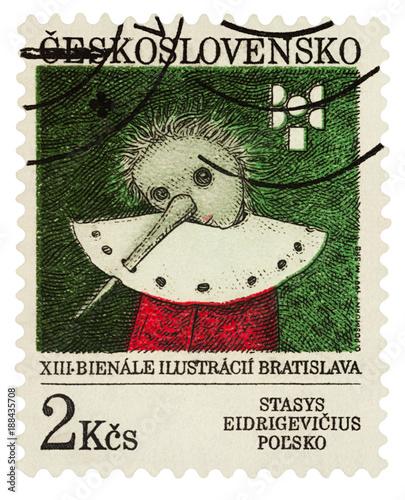 Illustration of Pinocchio by Stasys Eidrigevicius, Poland on postage stamp Wallpaper Mural