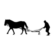 Silhouette Of Country Man Plowing By Horse.