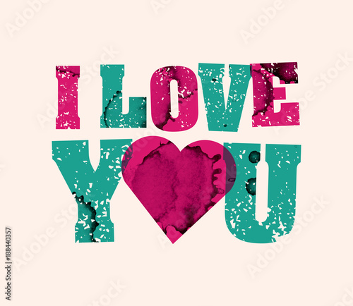 I Love You Concept Stamped Word Art Il Ration