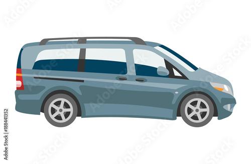 Minivan car vector van auto vehicle family minibus vehicle and automobile banner isolated citycar on white background illustration