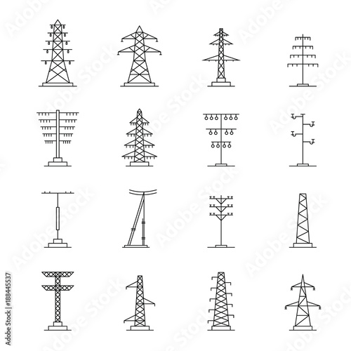 Electrical tower high voltage icons set. Outline illustration of 25 electrical tower high voltage vector icons for web