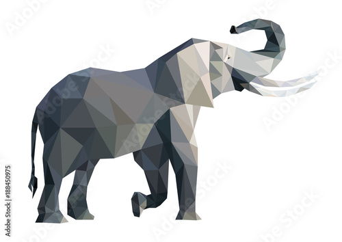 Fototapeta Vector big grey elephant from triangles isolated on white background, side view, eps