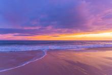 Pink And Purple Beach Sunset