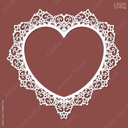 Laser Cut Heart Shaped Frame Photo Frame Template With An Openwork