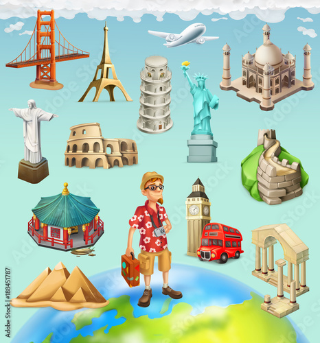 Foto  Travel, tourist attraction. 3d vector icon set on background