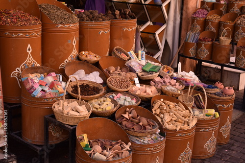 Staande foto Marokko Products of Morocco. Bazar colorful products