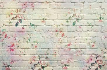 Panel Szklany Podświetlane Do przedpokoju Tijolos Floral