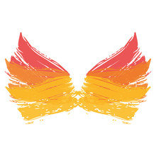 Two Wings Paint Ink Brush Grunge Strokes Color Vector Illustration